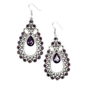 Purple Gem Silver Teardrop Dangle Earrings